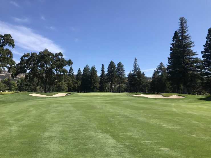 approach to 1st green at Silverado Country Club