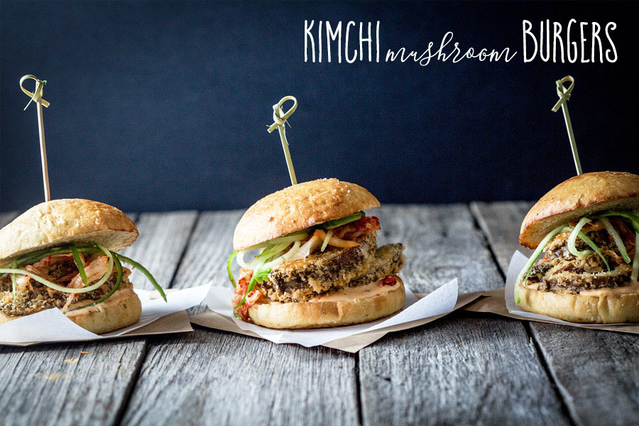 Mushrooms rolled in panko breadcrumbs with kimchi mayonnaise, spicy kimchi and cucumber served on a homemade vegan brioche bun, kimchi mushroom burgers.
