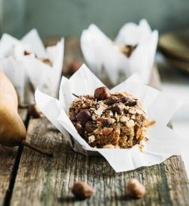 hazelnut pear and chocolate muffins 5