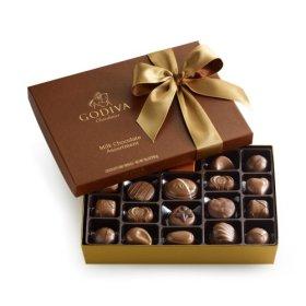 GODIVA Chocolatier Milk Chocolate Gift Box Classic Gold Ribbon 22 Pieces