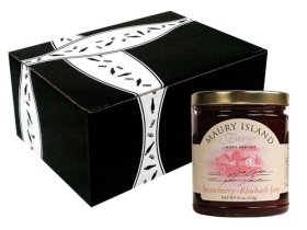 Maury Island Limited Harvest Strawberry-Rhubarb Jam, 11 oz Jar in a Gift Box
