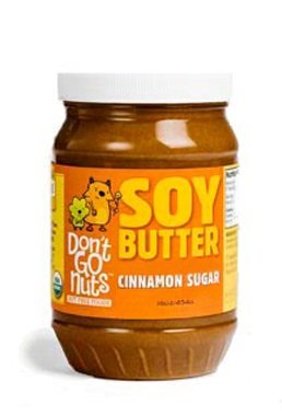 Don't Go Nuts non-GMO Soy Butter, Cinnamon Sugar, 16oz BPA Free Plastic Jar (Twin Pack): Gluten Free, Vegan, Kosher, Peanut & Tree Nut Free