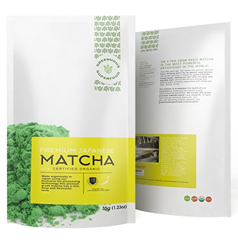 GREENHOUSE SUPERFOODS – Matcha Green Tea Powder – Premium Ceremonial Quality – 200 YRS Experience Producing Top Matcha – USDA & JONA Organic – Pure Japanese – 35g – 120% Money Back Guarantee