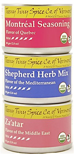Teeny Tiny Spice Company Organic World Herb Blends Variety Pack, Three 2.8 Oz Tins