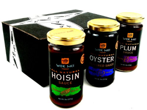 Wok Mei Gluten Free Sauces 3-Flavor Variety: One 8 oz Jar Each of Oyster, Hoisin, and Plum in a BlackTie Box (3 Items Total)