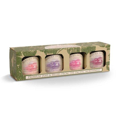 Gourmet Jam & Preserves 4-Jar Sampler Pack – 5.5 oz Jars – by Maury Island Farms (Pack of 2)