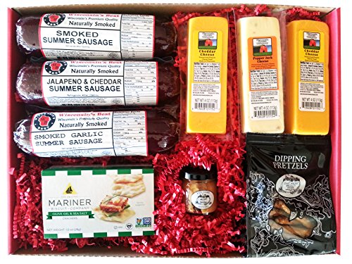 Wisconsin's Best Smoked Summer Sausage with Cheese, Cracker and Dipping Pretzel Gift Box