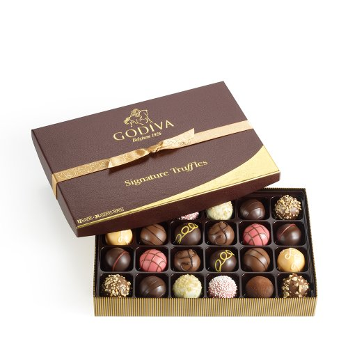 Godiva Chocolatier Signature Chocolate Truffles Gift Box, Classic, 24 Count
