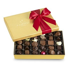 Godiva Chocolatier Red Ribbon Ballotin Valentines Chocolate Gift, 36 Count