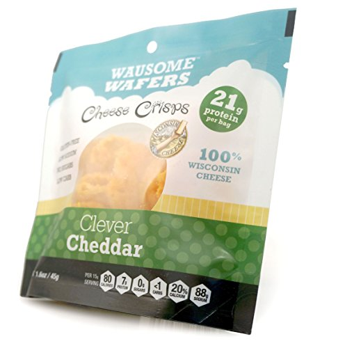 Wausome Wafer Cheese Crisps Pouches (Clever Cheddar, 8 Pack)