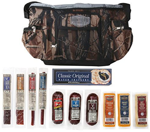 Hunters Reserve Insulated Cooler with Wild Game Sausage/Cheese Sticks/Jerky/Crackers, 50 Ounce
