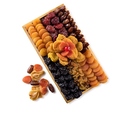 Assorted Fruit Mosaic Dried Fruit Wooden Rectangular Gift Tray,Dried Fruit Gift,Healthy Gift Basket