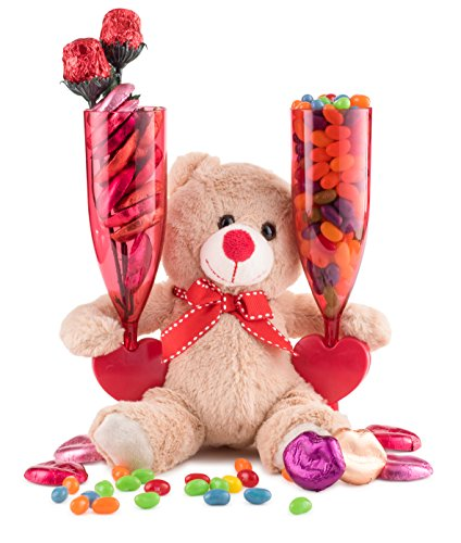 Happy Valentines Day, Chocolate Candy Lips and Conversation Jelly Beans Filled Heart Champagne Flutes for 2, Adorable Plush Teddy Bear, Red Roses Gift