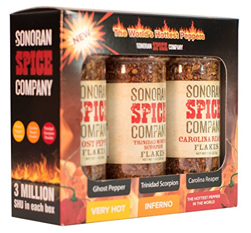 Sonoran Spice Carolina Reaper, Trinidad Scorpion, Ghost Pepper 1 Oz Flakes Gift Box