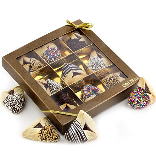 Purim Gift, Purim Hamantasch Gift, Chocolate Dipped Hamantashen Gift Box – Oh! Nuts (9 Pc. Chocolate Dipped Hamantaschen Gift Box)