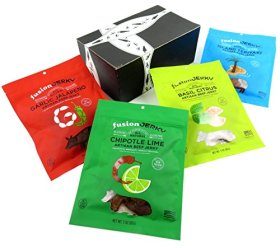 Fusion Jerky 4-Flavor Variety: One 3 oz Bag Each of Garlic Jalapeño Pork, Island Teriyaki Pork, Chipotle Lime Beef, and Basil Citrus Beef in a BlackTie Box (4 Items Total)