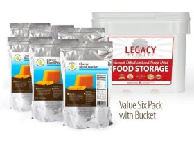 Legacy Essentials Long Term Dried Cheese Powder – 15 Year Shelf Life Powdered Cheese Blend for Emergency Food Storage Supply (Quantity 6 in Bucket)