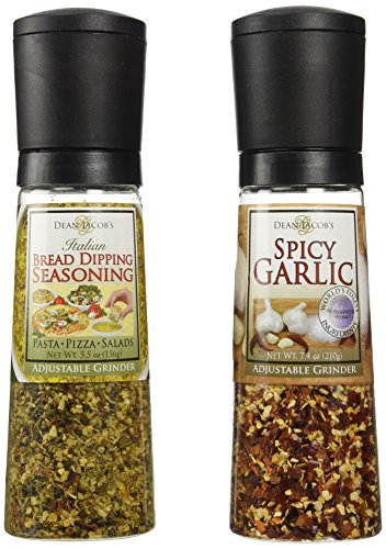 Dean Jacob's Grinder Set – Spicy Garlic and Italian Bread Dipping Seasoning