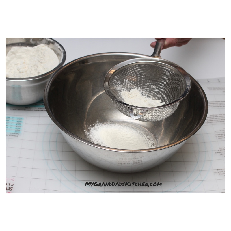 Sifting the flour mix