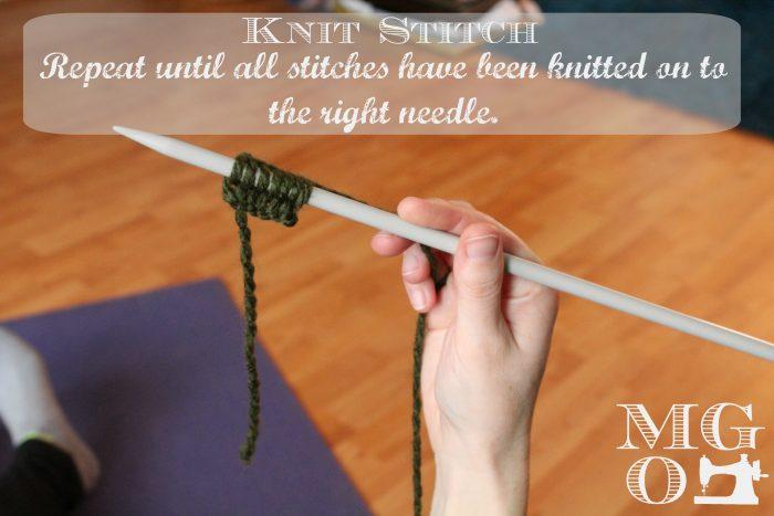 Knit Stitch Tutorial step 6