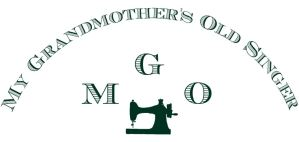 Logo for My Grandmother's Old Singer includes arched company name over acronym logo with sewing machine for S