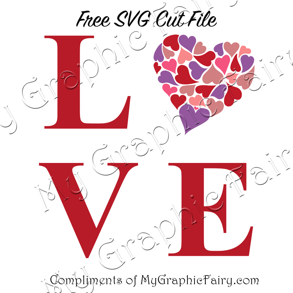 Download LOVE with Hearts SVG - My Graphic Fairy