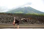 Doing the half moon pose without proper warm-up stretching. Ouch!