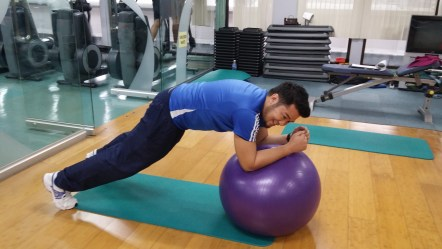 Station 6: Low plank on stability ball