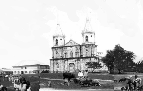 A composite of images of Molo Church and plaza taken in the early 1900s.
