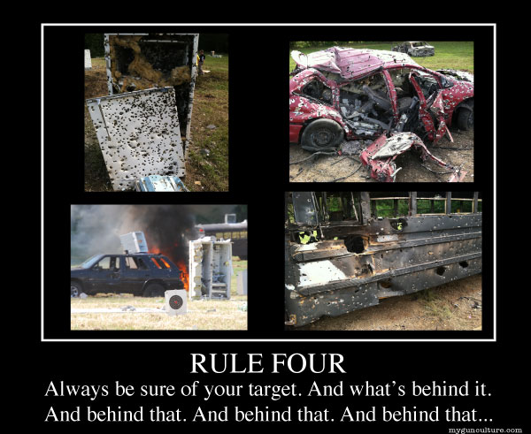Rule Four: Always be sure of your target and what's behind it. And behind that. And behind that. And behind that...