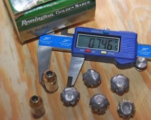 Remington Golden Saber .45 ACP ammunition expansion performance