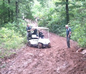 Shooting Industry Masters 2012 muddin with golf carts