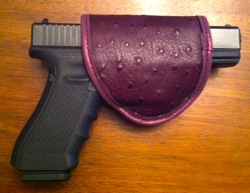 Pretty Dangerous Accessories Eggplant Ostrich Holster with Glock 17