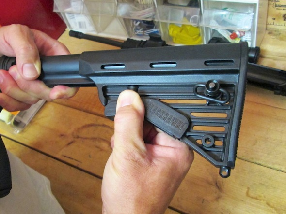 The new buttstock will slide right on, again if you pull down the release lever assembly.
