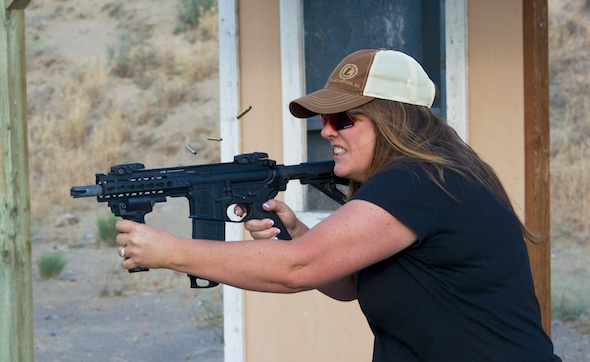 Note all the brass in the air from the full auto PWS Diablo. This side match was during daylight hours.