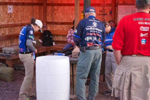 Jerry, Kay and Lena Miculek gearing up.