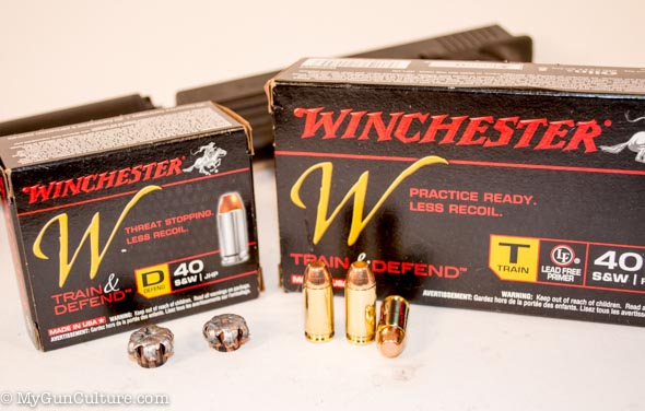 Two varieties of the same ammo: one for practice, the other for self defense.