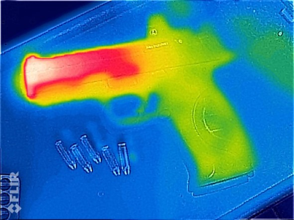 Here's the FLIR view of the brand new Smith & Wesson M&P Pro Series CORE with compensated barrel. As you can see, it's was just fired.