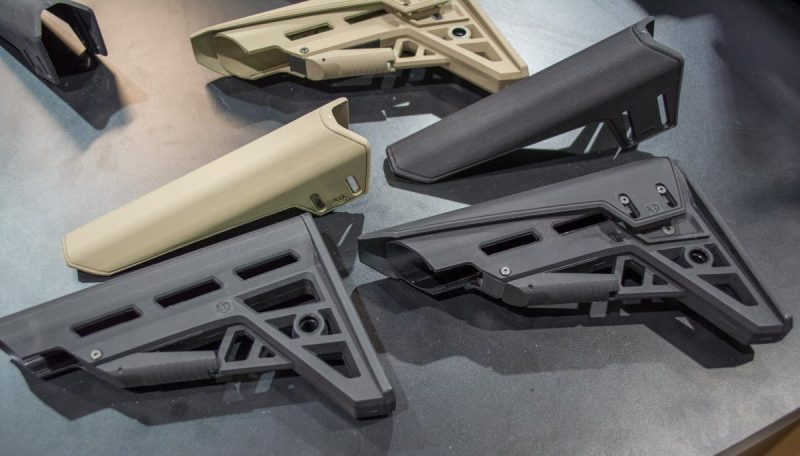 The new ATI TactLite AR stocks. The standard model is on the left and adjustable comb model on the right.