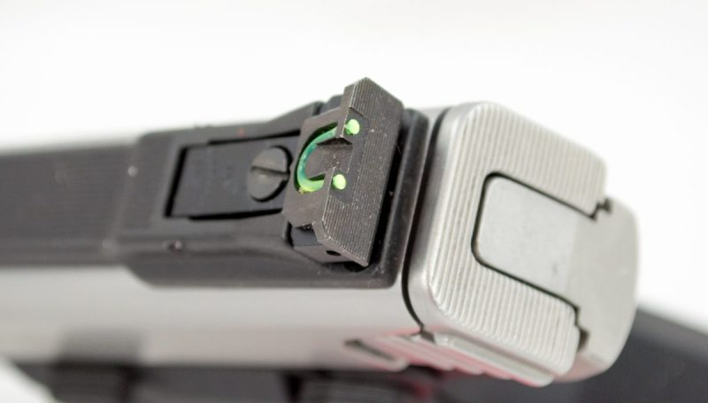 The standard rear sight uses a fiber optic tube for increased visibility.