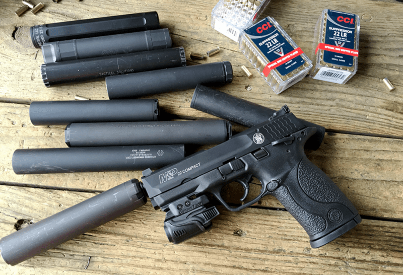 The Smith & Wesson M&P 22 Compact makes a great host for rimfire suppressors as it comes with a threaded barrel and the proportions are perfect.