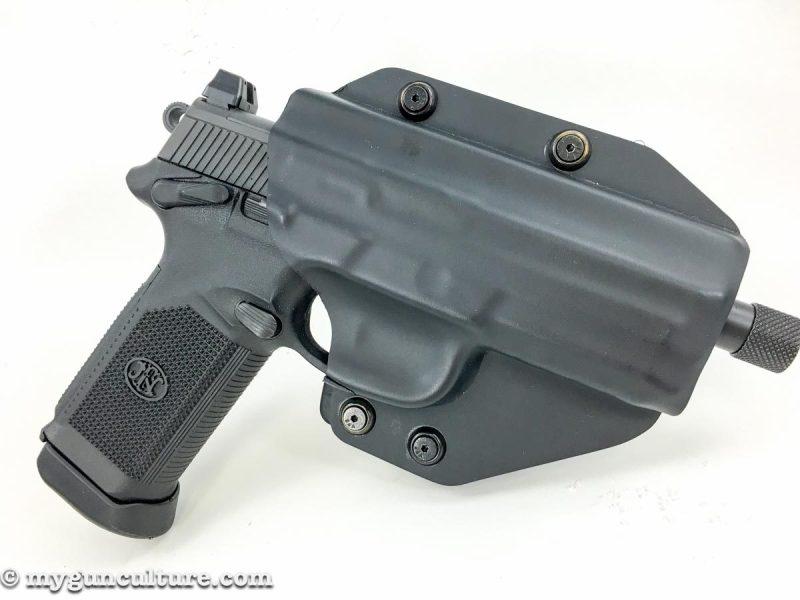 Alien Gear's new Cloak MOD OWB Holster, shown here with an FN FNX 45 Tactical pistol.