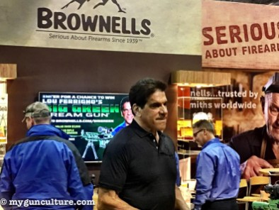 Here's a random SHOT Show celebrity spotting at the Brownells booth - Lou Ferrigno from the Incredible Hulk.
