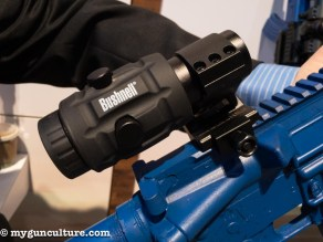 A new 3X flip-down magnifier from Bushnell Optics.