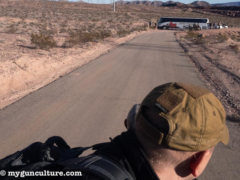 On the way to SHOT Show Media Day at the Range, our bus took a wrong turn and managed to get wedged between two berms of sand out in the middle of the desert. Fortunately, a pickup truck rescue a few of us...