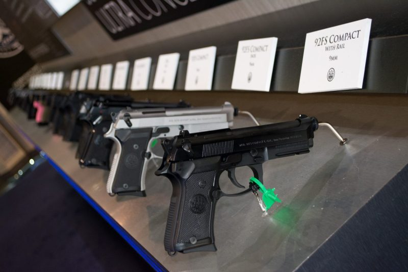 Just one row of the many, many, MANY guns you'll see displayed at SHOT.