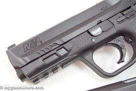 An internal change in the M&P 2.0 pistols is a longer internal chassis, visible here through the ports in the dust cover.