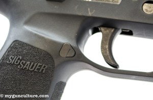 The frame on the Sig P320 features cutouts, allowing easier trigger finger reach.