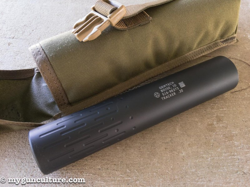 The Gemtech Tracker Suppressor is made from aluminum, so it's feather weight.