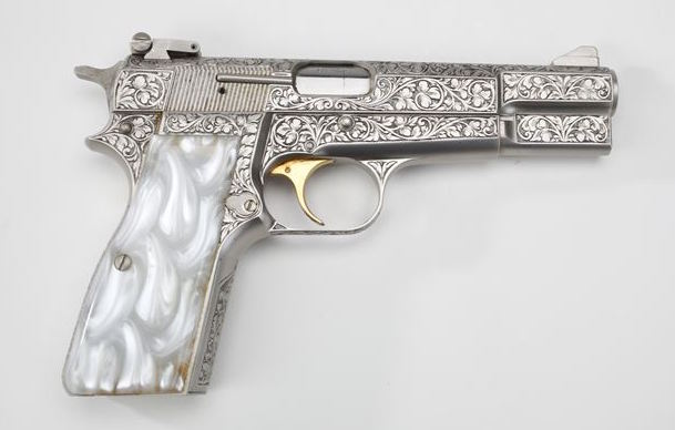 A surplus pistol won't likely look like this Browning Renaissance Hi-Power currently residing at the NRA Museum, but it can still get the job done.